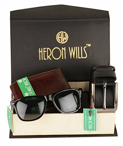 Men's Leather Combo Of Belt, Wallet & Sunglass